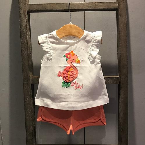 Mayoral: Flamingo - Peach Two Piece Shorts Set