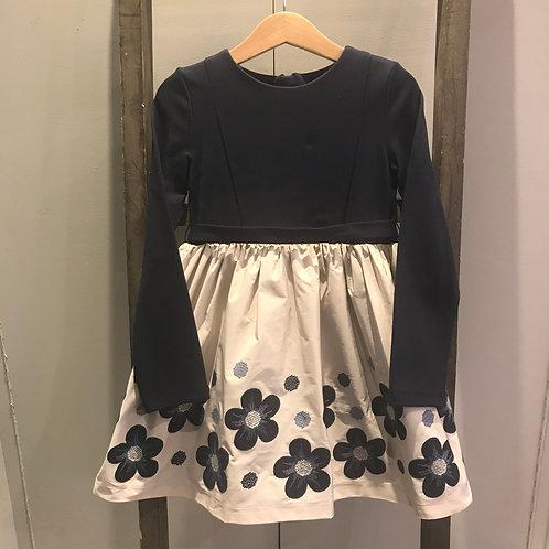 Mayoral 4916: navy/cream floral girls dress