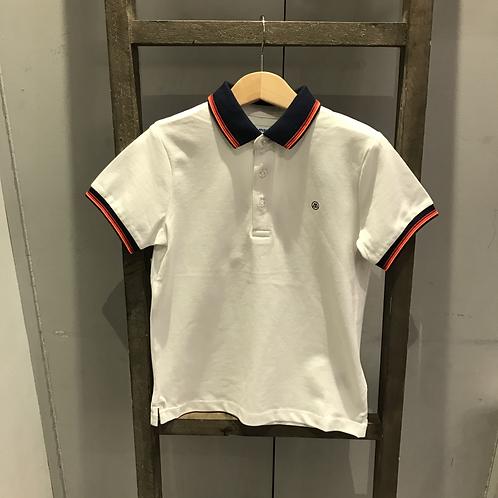 Mayoral: 3150 - White/Navy Collar Polo Shirt