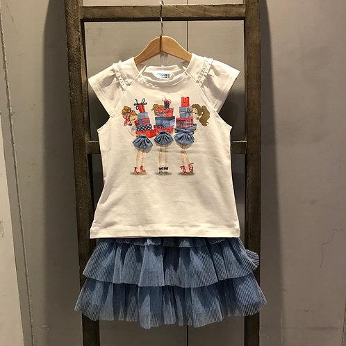 Mayoral: Blue Skirt Set