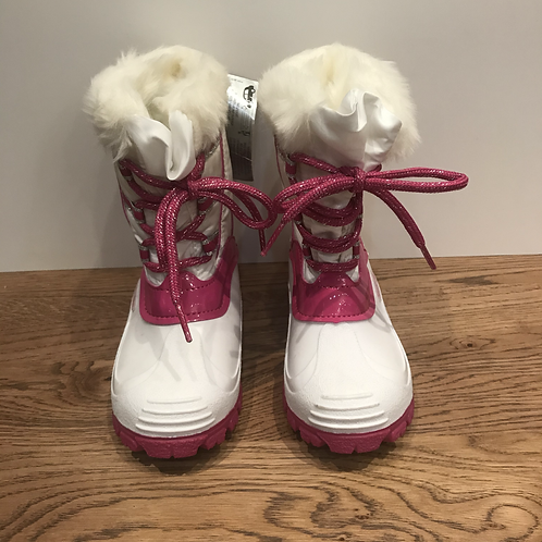 White & Pink Snow Boots