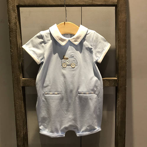 Mayoral: Train Motif Romper (Blue)