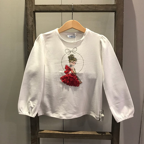 Mayoral 4002: Cream/Red Girls Top
