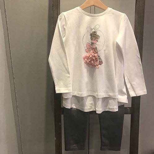 Mayoral 4740: cream/grey girls leggings set