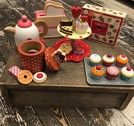 Afternoon tea wooden toys at Sid & Evie'
