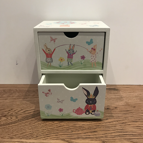 Floss and Rock: Wooden 2 Drawer Box (Bunny Rabbit)