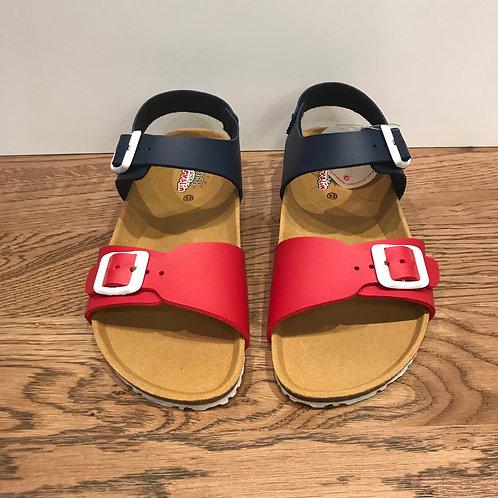 Garvalin: Red/Navy - Open Toe Buckle Sandals