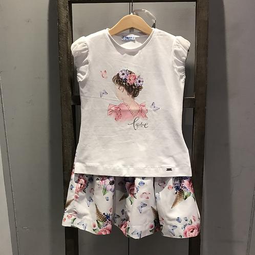 Mayoral: 3963 - White/Lilac Floral Skirt Set