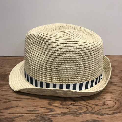 Mayoral: Beige Straw Hat with Navy Stripee Band