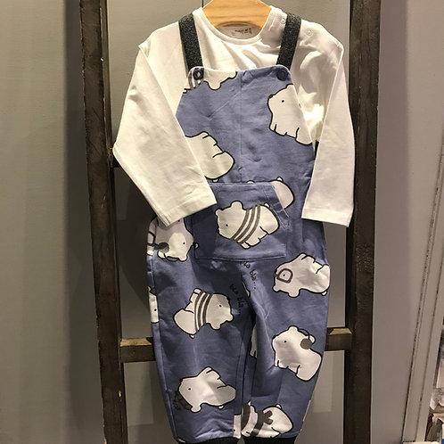 Mayoral 2601: blue baby boy dungaree set