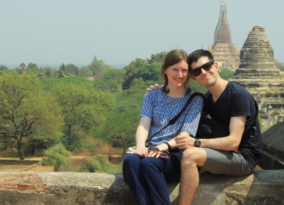 Craig and Dearbhla in Myanmar temple