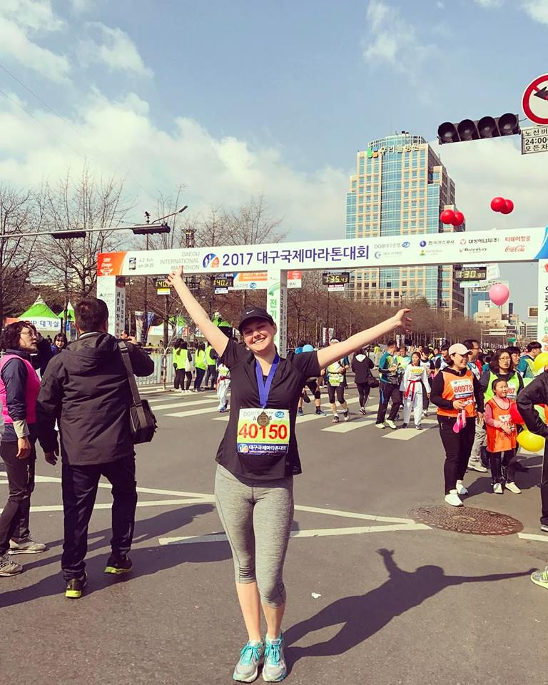 Emily Eckel post race pic in Korea
