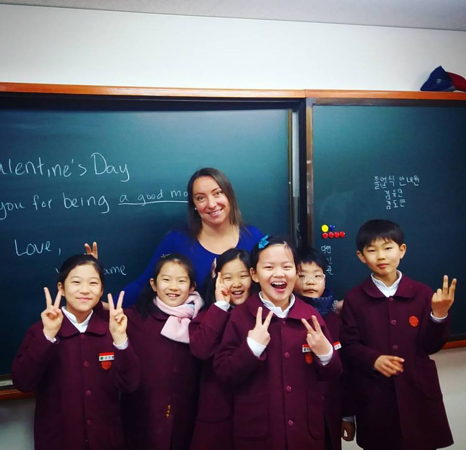 Korea - Rachel with students