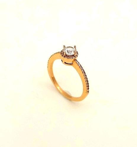 Μονόπετρο δαχτυλίδι ροζ
