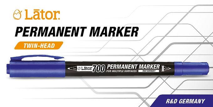 Lator Permanent Marker L700 - Twin Head- Blue