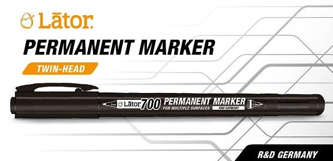 Lator Permanent Marker L700 - Twin Head- Black