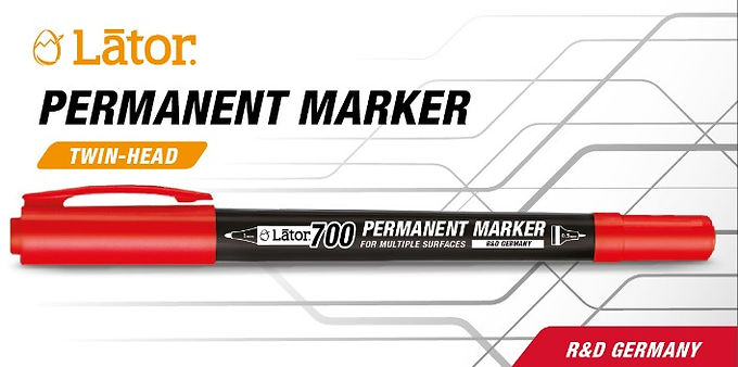 Lator Permanent Marker L700 - Twin Head- Red