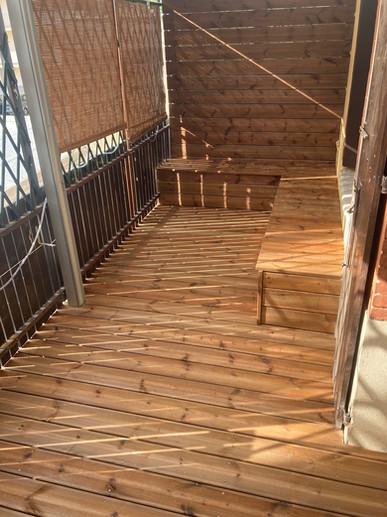 Terrasse avec caisson de rangement