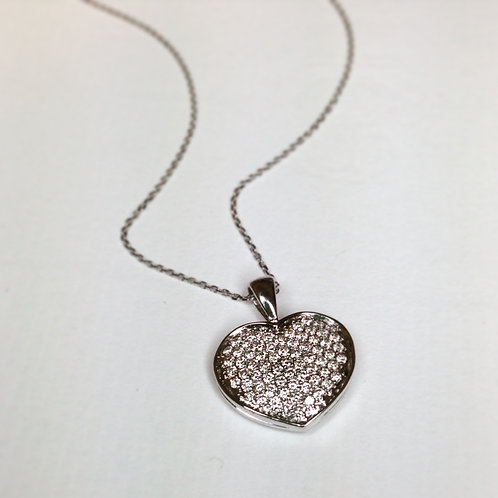 Pave Diamond Heart Necklace 18ct white