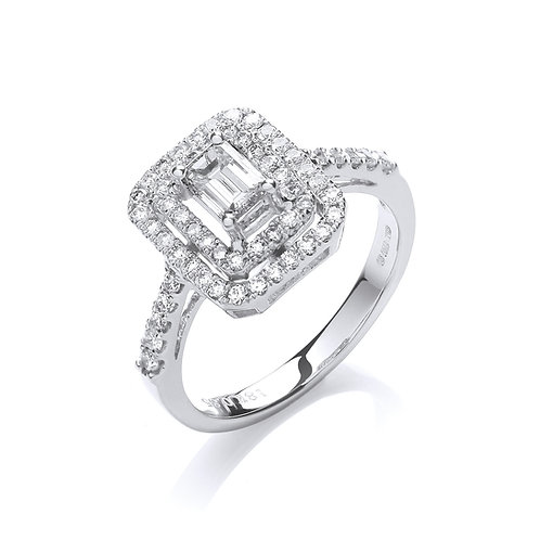 Classic Diamond Cluster 0.85ct 18ct white gold