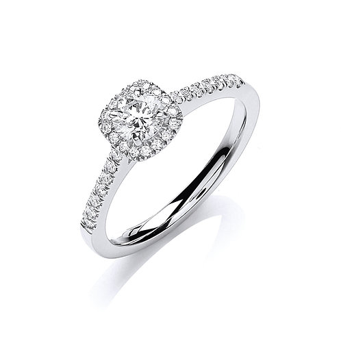 Diamond Halo Ring 0.50cts 18ct white gold