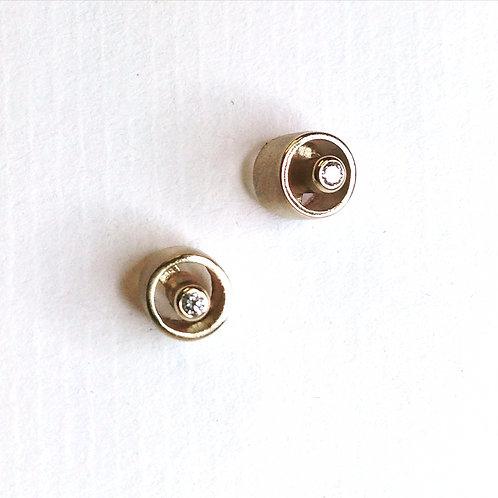 Handmade Diamond Tube Earrings