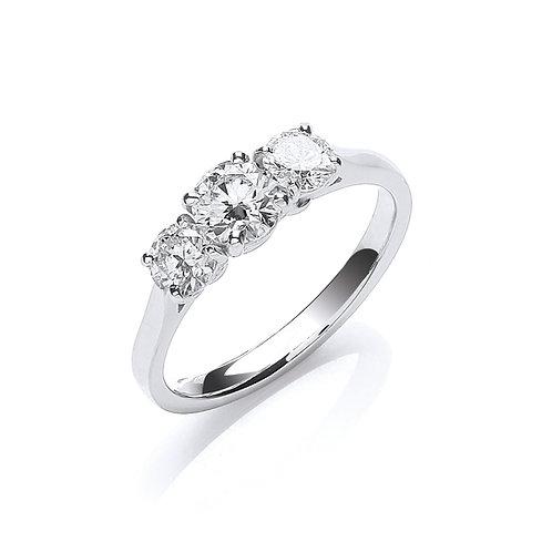 Trillogy Diamond Ring 1ct 18ct white gold