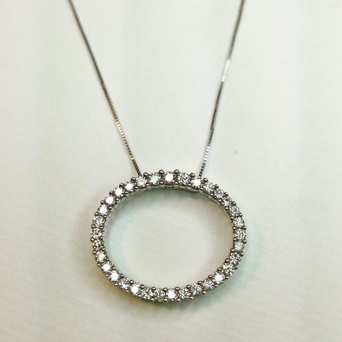 Diamond Oval Necklace 18ct white gold.