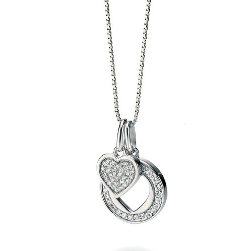 SILVER PAVE DOUBLE HEART NECKLACE