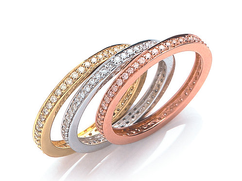 Three Bands of Gold with Diamonds 18ct