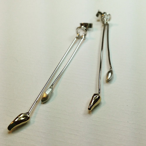 Silver and gold Nugget Drop Earrings