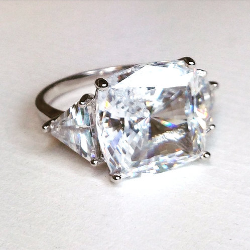 Cubic Zirconia Cushion Ring with triangle shoulder