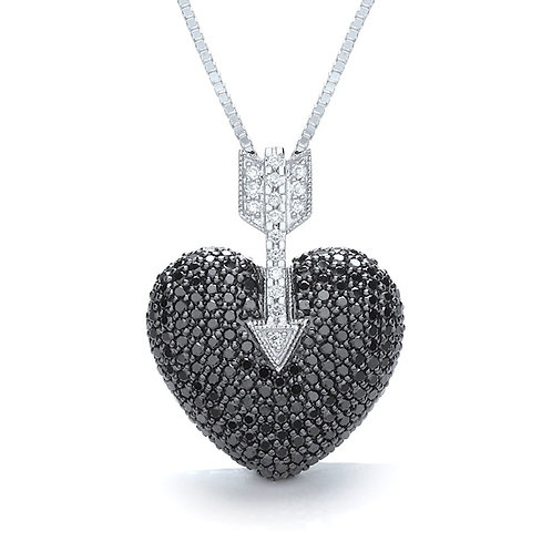 18ct White Gold, Black Diamond & White Diamond Pendant.