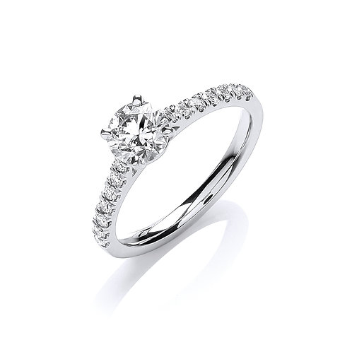 Diamond Solitaire Ring 0.90cts 18ct white gold