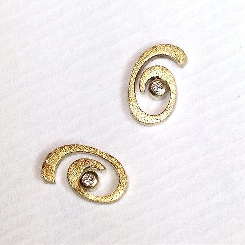 Handmade Swirl Diamond  Earrings