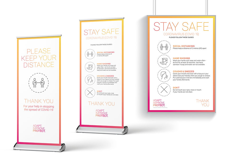 Implement the Adapt Improve Protect plan with workplace Office solutions to Covid-19 and the Coronavirus Pandemic with Design, Signage, Strategy and Implementation