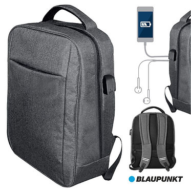 Blaupunkt Mochila C/ Porta USB E Jack Azul/Cinza