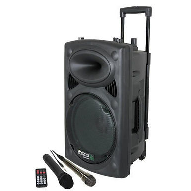 "Ibiza Sound Coluna PA 15"" com Bluetooth 800W preto + micorfones e comando"