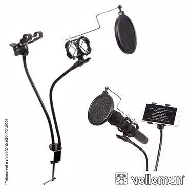 Velleman HQMS10009 Suporte Mesa p/ Microfone c/ Filtro Acústico