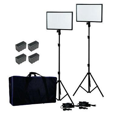 Nanlite Kit 2 Iluminação 25 c/Tripés Saco e 4 Baterias