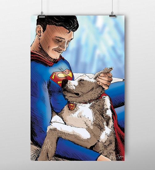 Superman & Krypto 11x17 Print