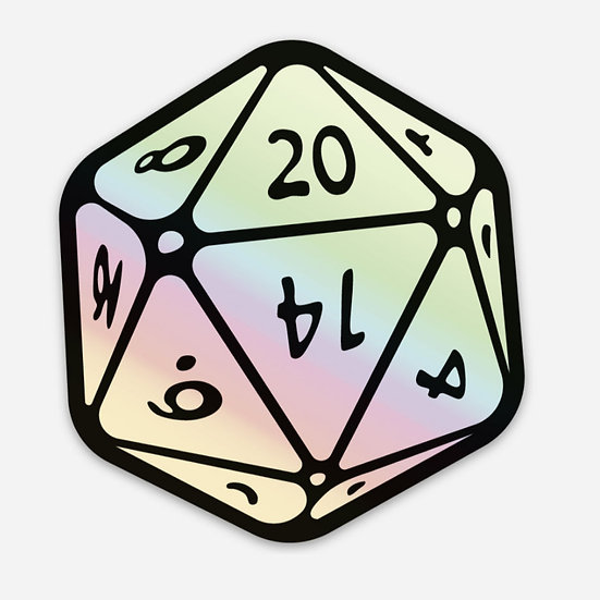 Holographic 20 sided die Sticker