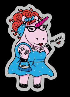 Unicorn Pin Up Sticker