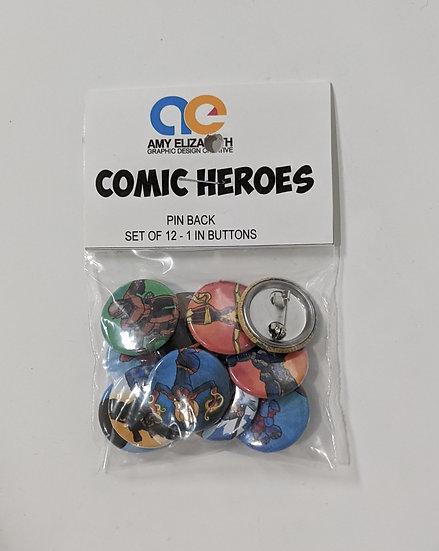 Comic Heroes Pin Set