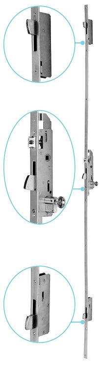 Cerradura Tres Puntos Palanca Basculante para Puerta Batiente Sistema Europeo.