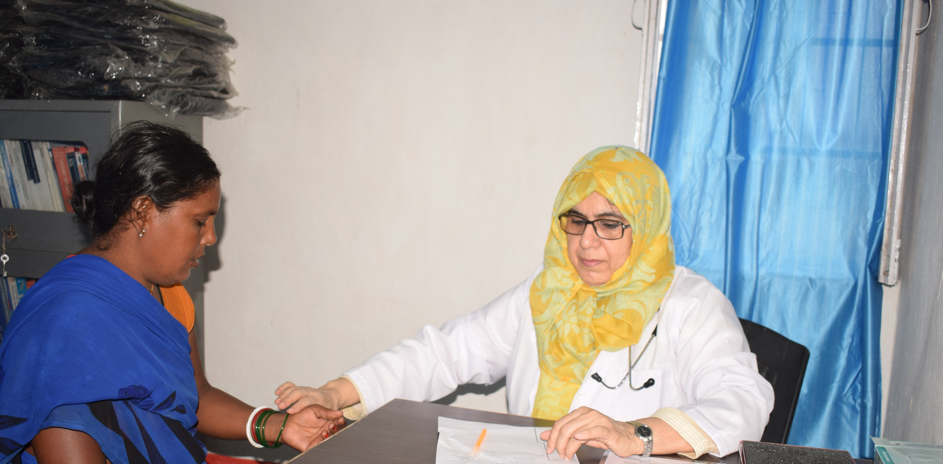 Ou gynecologist provided medical checkups for the expecting mothers who attended the camp.