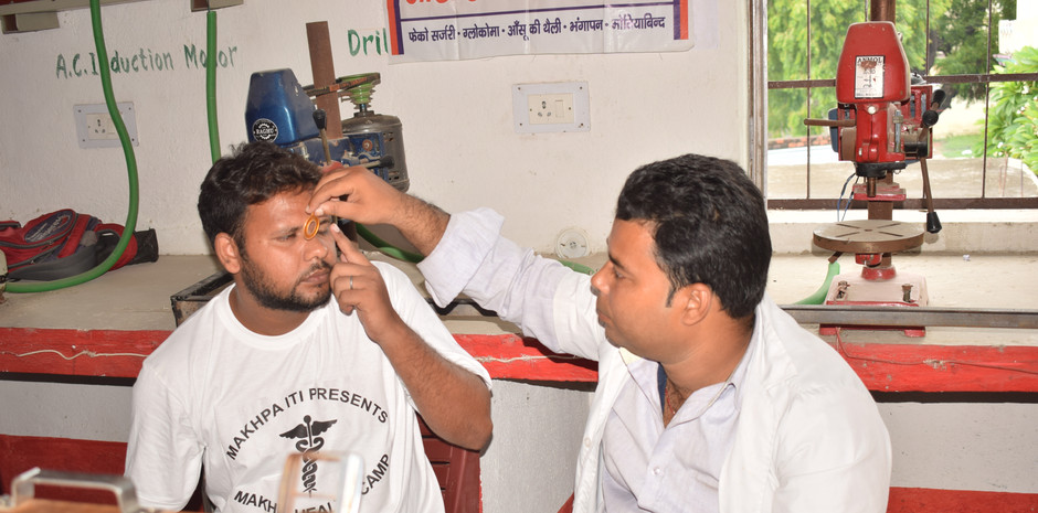 An eye camp was set up on the second day of the camp for our patients who had trouble and/or discomfort with their eyesight.