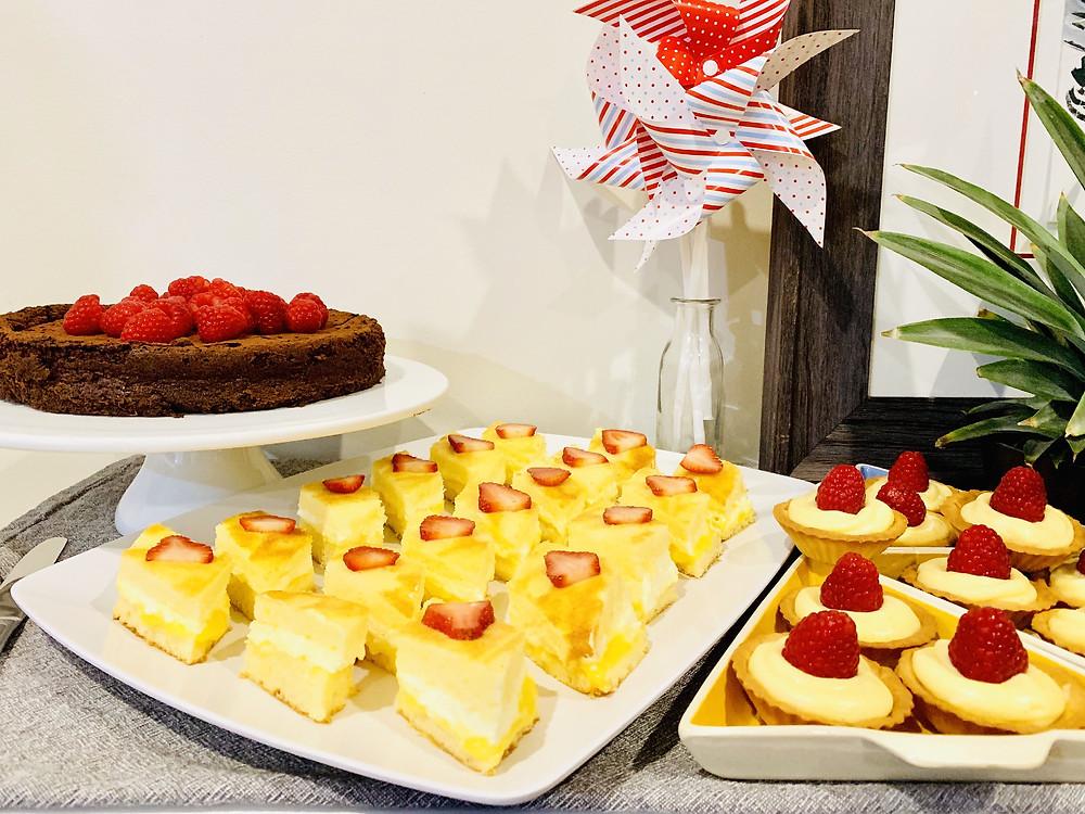 Manjari Chocolate Cake, Lemon and Cream Sponge Cake, Strawberry and Vanilla Cream Tarts