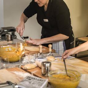 Meryl showing class how to make ravioli