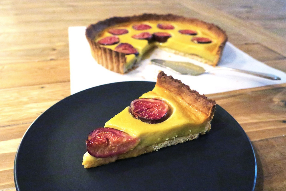 Fig, hazelnut and spiced custard tart